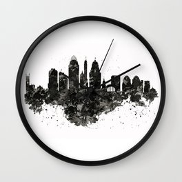 Cincinnati Skyline Black and White Wall Clock