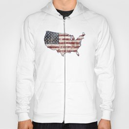 USA Map American Flag distressed rustic patriotic independence 4th of July United States of America Hoody