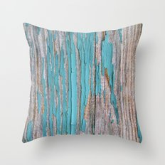 Rustic turquoise weathered wood shabby style Throw Pillow