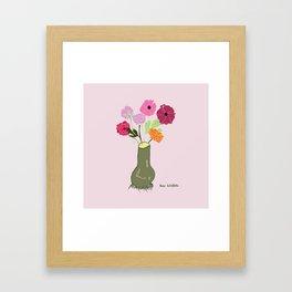 Pink Ranunculus in Green Vase Framed Art Print