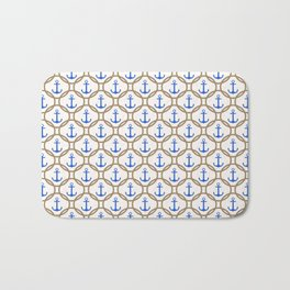 Seamless nautical pattern with blue anchors and rope on white background Bath Mat