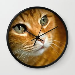 Adorable Ginger Tabby Cat Posing Wall Clock
