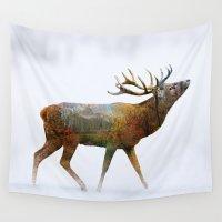 deer Wall Tapestries featuring deer by mark ashkenazi