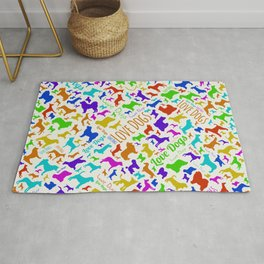 Fun Colorful Love dogs Silhouettes Pattern Rug