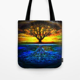 Duality Tree of Life Reflection Moon & Sun Day & Night Painting by CAP Tote Bag