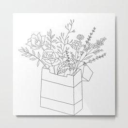 Flowers in Cigarette Box Line Art Metal Print