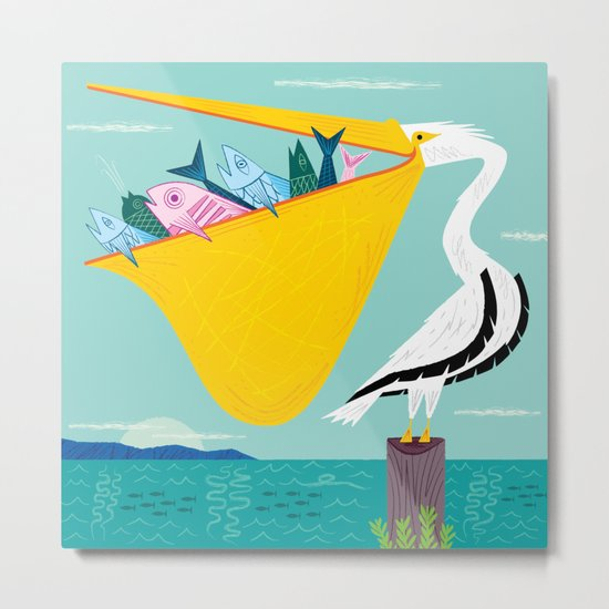 The Greedy Pelican Metal Print
