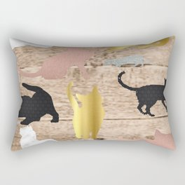 Textured Cats Rectangular Pillow