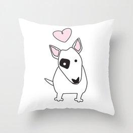 Bullterrier Love Throw Pillow