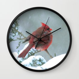 Puffed Cardinal in Snowstorm Wall Clock