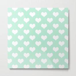 Mint Green Sweet Heart Metal Print
