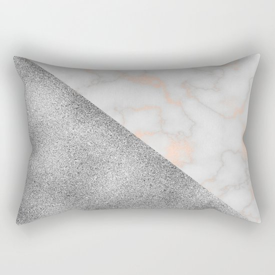 Rose gold marble and silver glitter Rectangular Pillow