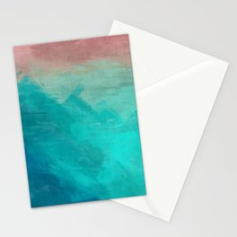 Sunset Over Lagoon Abstract Painting Stationery Cards