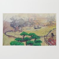 asian Area & Throw Rugs featuring Asian Landscape by Fuselage Fashion