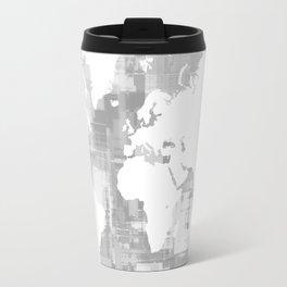 Design 71 Grayscale World Map Travel Mug
