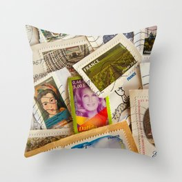 France Photography - A Pile Of Postage Stamps Throw Pillow