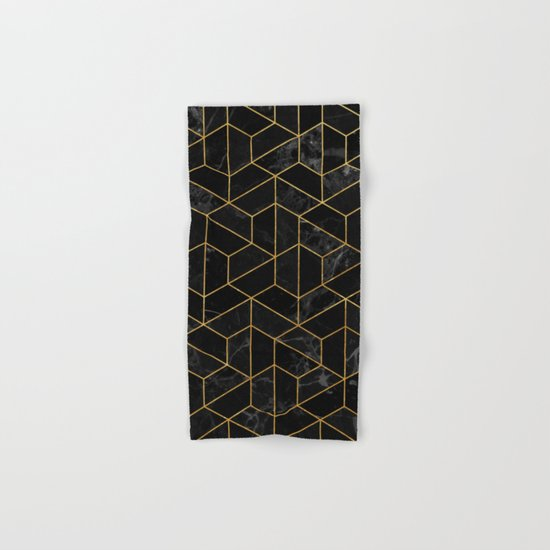 Black Marble Hexagonal Pattern Hand & Bath Towel