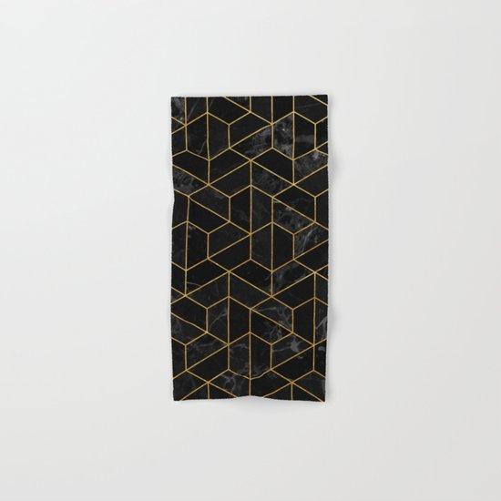 Black Marble Hexagonal Pattern Hand & Bath Towel