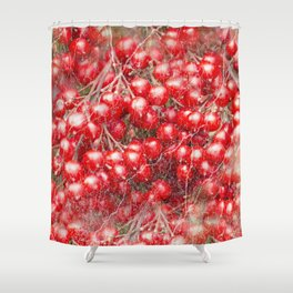 Red holly berries in marbled pattern Shower Curtain