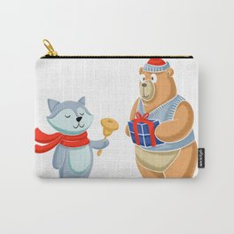 Bear and racoon merry christmas Carry-All Pouch