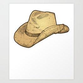 Vintage Retro Western Cowboy Hat Distressed  Art Print
