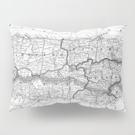 Vintage Map of Puerto Rico (1901) BW Pillow Sham
