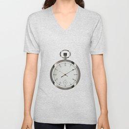 Silver Pocket Watch Unisex V-Neck