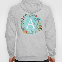 Personalized Monogram Initial Letter A Blue Watercolor Flower Wreath Artwork Hoody