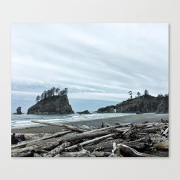 Rainy Day at Second Beach Canvas Print