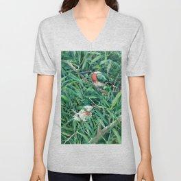 Green Kingfisher in Nature, green design Unisex V-Neck