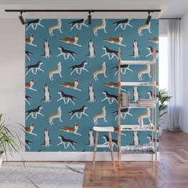 Husky Pattern (Teal Blue Background) Wall Mural