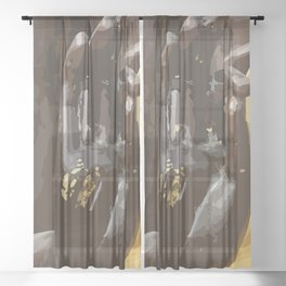 Buddha Hand Illustration Sheer Curtain