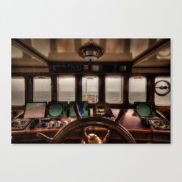 Behind the Wheel of the Ship Canvas Print