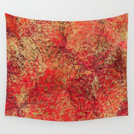 Red Earth Scratches Abstract Wall Tapestry