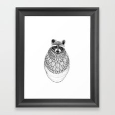 Raccoon- Feathered Framed Art Print
