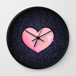 Pink heart on shiny black Wall Clock