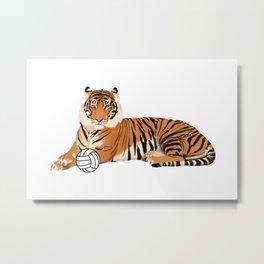 Volleyball Tiger Metal Print