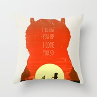 wild things Throw Pillows featuring Wild Things by Duke Dastardly