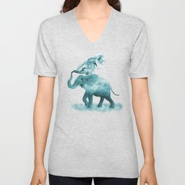 Turquoise Smoky Clouded Elephant Unisex V-Neck