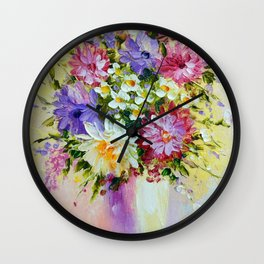 Bright bouquet of flowers  Wall Clock