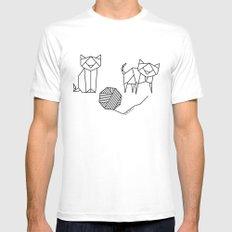 Geometrical Kitty Partern MEDIUM White Mens Fitted Tee