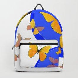 YELLOW BUTTERFLIES SWARM & BLUE RING MODERN ART Backpack