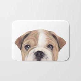 Bulldog Original painting Dog illustration original painting print Bath Mat