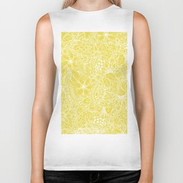 Modern trendy white floral lace hand drawn pattern on meadowlark yellow Biker Tank