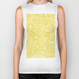 Modern trendy white floral lace hand drawn pattern on meadowlark yellow Biker Tank