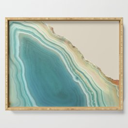 Geode Turquoise + Cream Serving Tray