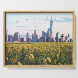 New York City Skyline and Sunflower Field Serving Tray