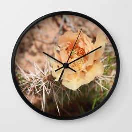 Peach Cactus Flower Wall Clock