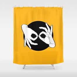 Sign Language (ASL) Interpreter – White on Black 09 Shower Curtain