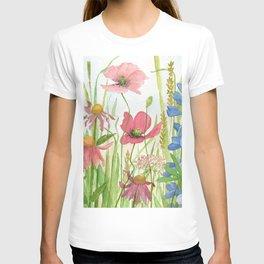 Watercolor Garden Flower Poppies Lupine Coneflower Wildflower T-shirt